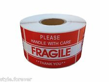 """One Roll 500 2"""" x 3"""" FRAGILE HANDLE WITH CARE Stickers, Easy Peel and Apply"""