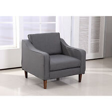 HOMCOM Sofa Single Arm Chair Armrest Couch Seat Dorm Linen Living Room Furniture