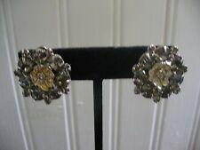 Vintage Weiss Silvertone Metal Clear Rhinestone Encrusted Flower Clipon Earrings