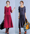 Womens Linen Blend Smock Dress Boho Long Drop Waisted Shift Midi Dress F344