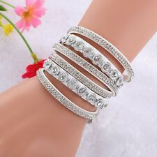 NEW LOVELY LEATHER Slake BRACELET MADE WITH SWAROVSKI CRYSTALS - WHITE
