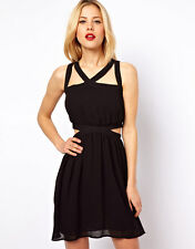 Mango Cross Back Cut Out Sides Mini Party Dress Size S UK 8 Black RRP £45