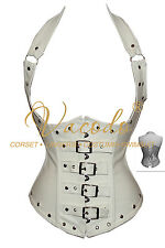 Womens Leather Corset Steampunk Buckle Sexy Halter Steel Boned Ladys Basques Hot