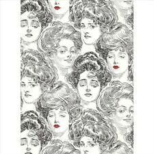 BV2419 Wallpaper Pucker Up Butter Cup Black White Gibson Girl Toile Wallpaper