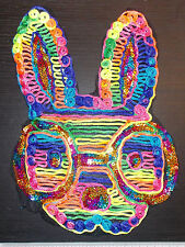 Neon rainbow sequin rabbit animal embroidered lace applique motif patch costume