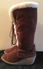 MICHAEL Michael Kors Suede Wedge Boots w/ Shearling Lining/rubber outsole size 7
