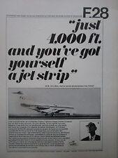 9/1968 PUB FOKKER F28 FELLOWSHIP AIRCRAFT JHD BLOM AERODYNAMIQUE FRENCH AD