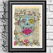 Art print on dictionary book page Mounted Mexican new school Tattoo decor