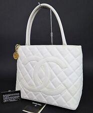 Auth CHANEL White Quilted Caviar Leather CC Medallion Tote Bag Purse #24157A