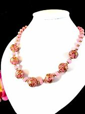 GORGEOUS MURANO VENETIAN WEDDING CAKE ROSE PINK HAND-DECORATED BEAD NECKLACE