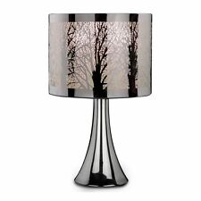 Modern Tree Scene Silver Chrome Touch Pad Dimmer Table Bedside Lamp