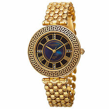 New Women's Akribos XXIV AK808YG Unique Quartz Diamond Markers Gold-tone Watch
