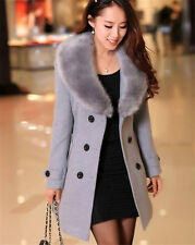 2016 Women's Winter Coat Long Wool Jacket Fur Collar Slim Outwear Trench coat