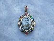 Sterling Silver multi color gemstones KING RAMA IV 5 THAILAND Pendant CHARM COIN