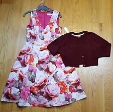 New Eliza J PINK flare pleated floral dress sz 8 A Line Lot with Shrug Sweater