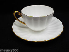 Shelley England Fine Bone China Gold Trim Ludlow Shape Fluted Tea Cup & Saucer