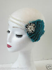 Teal Blue Ivory White Pearl Feather Headpiece Flapper Vintage 1920s Headband O91