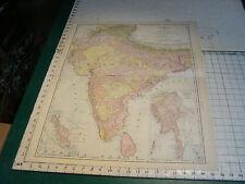 """Vintage Original 1898 Rand McNally Map: INDIA, 28 x 21"""""""