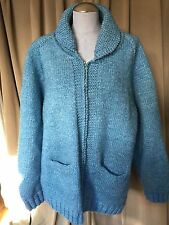 INCREDIBLE VINTAGE HAND knit blue Canadian Geese Gosling Cardigan sweater 3X