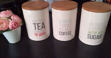 Cute Grey Cream Slogan Ceramic Tea Coffee Sugar Storage Jars Shabby Chic