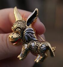 New NOS Vintage Brooch Pin SIGNED SPAIN Damascene Burro Donkey 24K Plated NICE