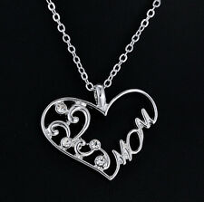 Sweet Silver Plated Crystal Heart Pendant Necklace Love Mother's Birthday Gifts