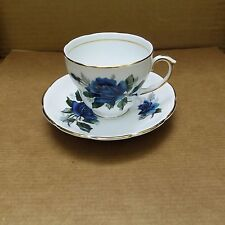 Duchess Bone China Cup & Saucer – Made in England – Blue Rose Floral