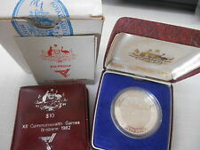 2 coin 1982 SILVER $10  AUSTRALIAN COMMONWEALTH GAMES PROOF & UNCIRCULATED COINS