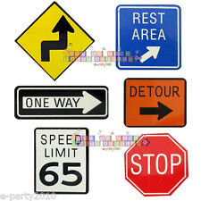 ROAD SIGN MAGNETS (6) ~ Construction Birthday Party Supplies Favors Racing Boy