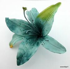 """6"""" Variegated Teal Blue Tiger Lily Poly Silk  Flower Hair Clip,Pin Up,Updo"""