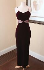 Vtg 90s Purple Maroon Velvet Evening Dress Formal Prom Size 6 8 Sequin Cutout