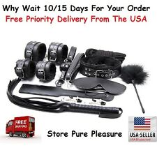 10pcs Bondage Restraints Set Kit Ball Gag Cuff Whip Collar Fetish Sex Toys