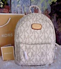 NWT MICHAEL KORS Jet Set MK Sig Extra Small XS Backpack PVC/Leather VANILLA $258