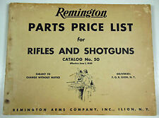 ORIGINAL 1950 REMINGTON PARTS PRICE LIST FOR RIFLES AND SHOTGUNS, FREE SHIPPING