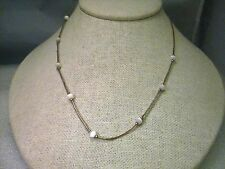 """Vintage Sterling Silver Mother-of-Pearl Beaded 16"""" Necklace, 3.10 grams - BOHO"""