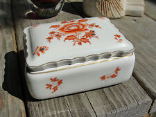 1947 HEREND PORCELAIN CHINA RUST RED FLORAL CIGARETTE BOX #8973  - as is -