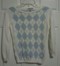 BURBERRY LONDON Kids White Blue Striped Knit Sweater Pullover Size Small S