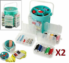 2 X 210 PCS DELUXE SEWING KIT SET STORAGE CADDY BOX THREAD NEEDLES PINS BUTTONS