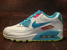 Nike Air Max 90 (GS) Shoes White Blue Volt Pink Clearwater SZ 4Y ( 345017-123 )