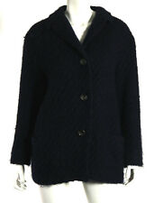 JIL SANDER Navy Blue Wool Boucle Front Pocket Button-Front Coat 42