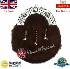 New Men's Full Dress Kilt Sporran Brown Rabbit Fur/Kilt Sporrans Celtic Cantle
