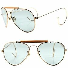 Classic Retro Old Fashioned Light Tint Lens Flexible Ear Wrap Gold Sunglasses