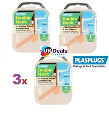 3 X PLASPLUGS DOUBLE ROBE DRESSING GOWN HOOK FOR HOLLOW DOORS & PARTITIONS