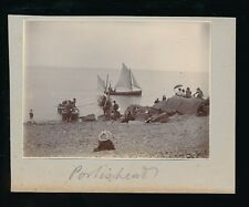 Somerset PORTISHEAD Yawl Cutter beach nice Edwardian scene c1900s photo 98x72mm