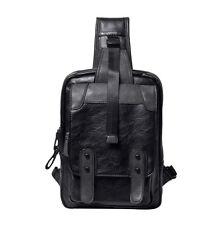 New Men PU Leather Travel Crossbody Shoulder Messenger Sling Back Pack Chest Bag