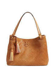 Tory Burch Thea Woven Leather Tote Peanut Brown Handbag Purse Bag New