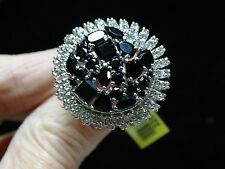 Black Spinel & White Topaz Ring in Platinum Overlay 925 SS Sz 10 TGW 11.305