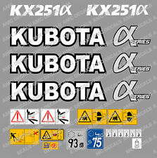 KUBOTA KX251 MINI DIGGER  DECAL STICKER SET WITH SAFETY WARNING SIGNS