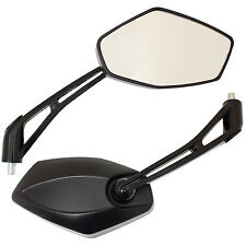 SET OF BLACK ANGLED MIRRORS UNIVERSAL 8MM THREAD MOTORCYCLE BIKE MOTORBIKE PAIR