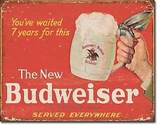 The New Budweiser TIN SIGN beer ad metal poster wall art vtg home bar decor 2019